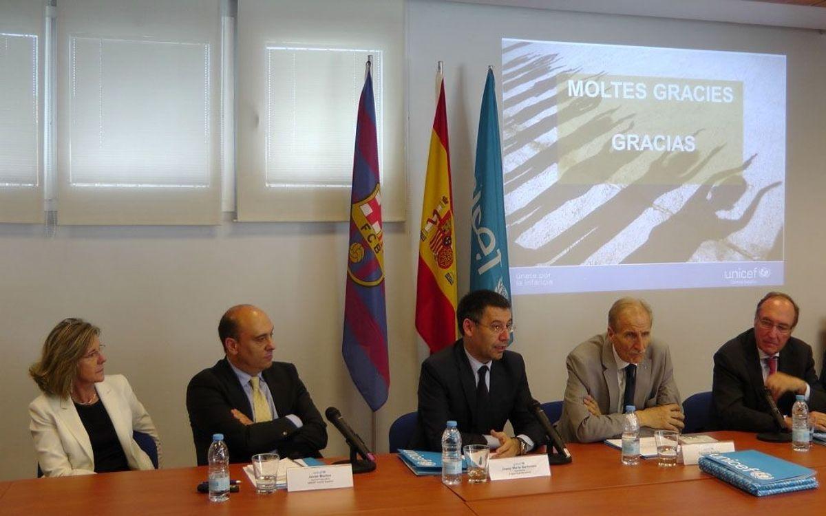 Trobada institucional entre els presidents del FC Barcelona i l'Unicef