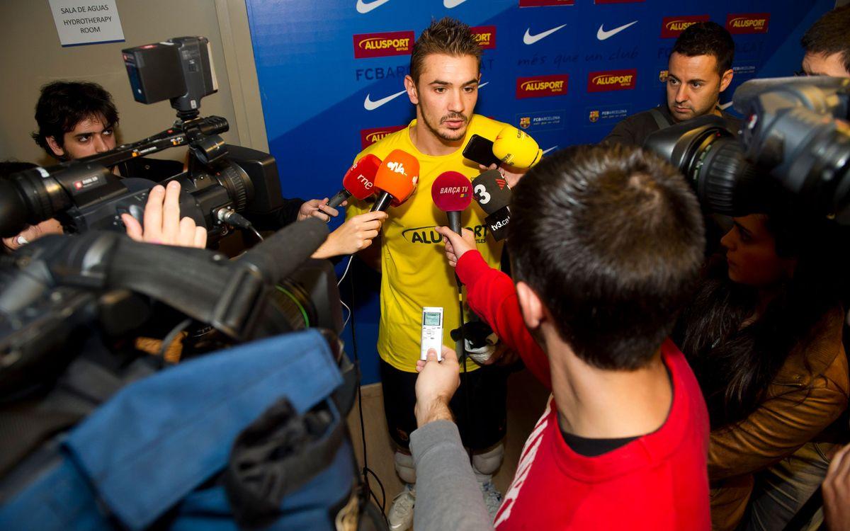El fútbol sala azulgrana, centro de atención de los medios informativos antes de jugar la UEFA Futsal Cup
