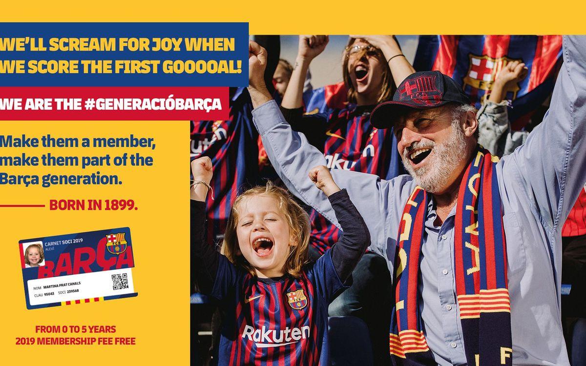 Free membership for the new Barça generation