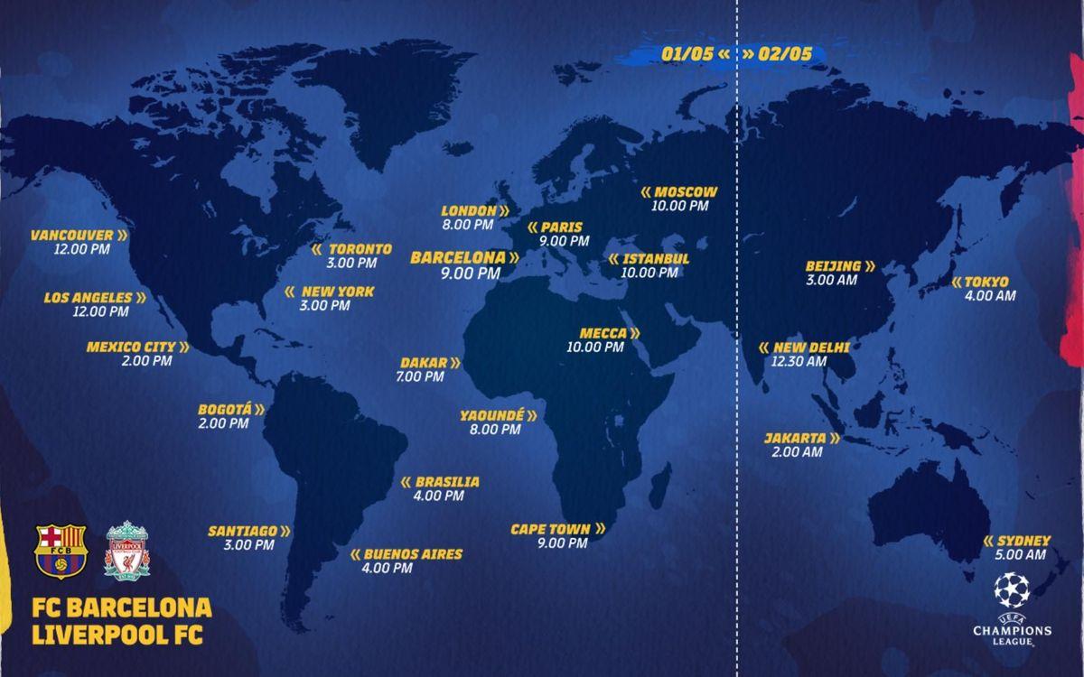 Mapa horaris FC Barcelona-Liverpool