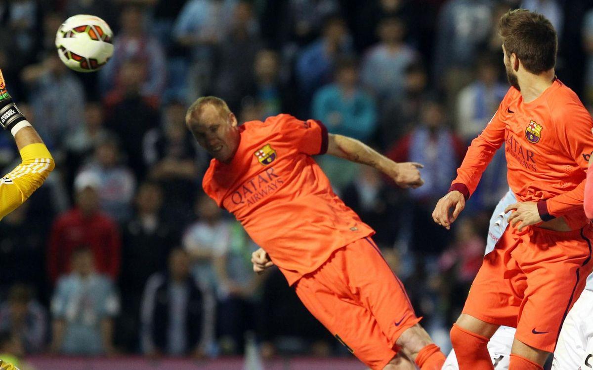 Mathieu, autor del gol en l'última victòria del Barça a Balaídos
