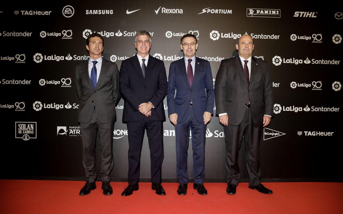 Guillermo Amor, Jordi Mestre, Josep Maria Bartomeu y Óscar Grau