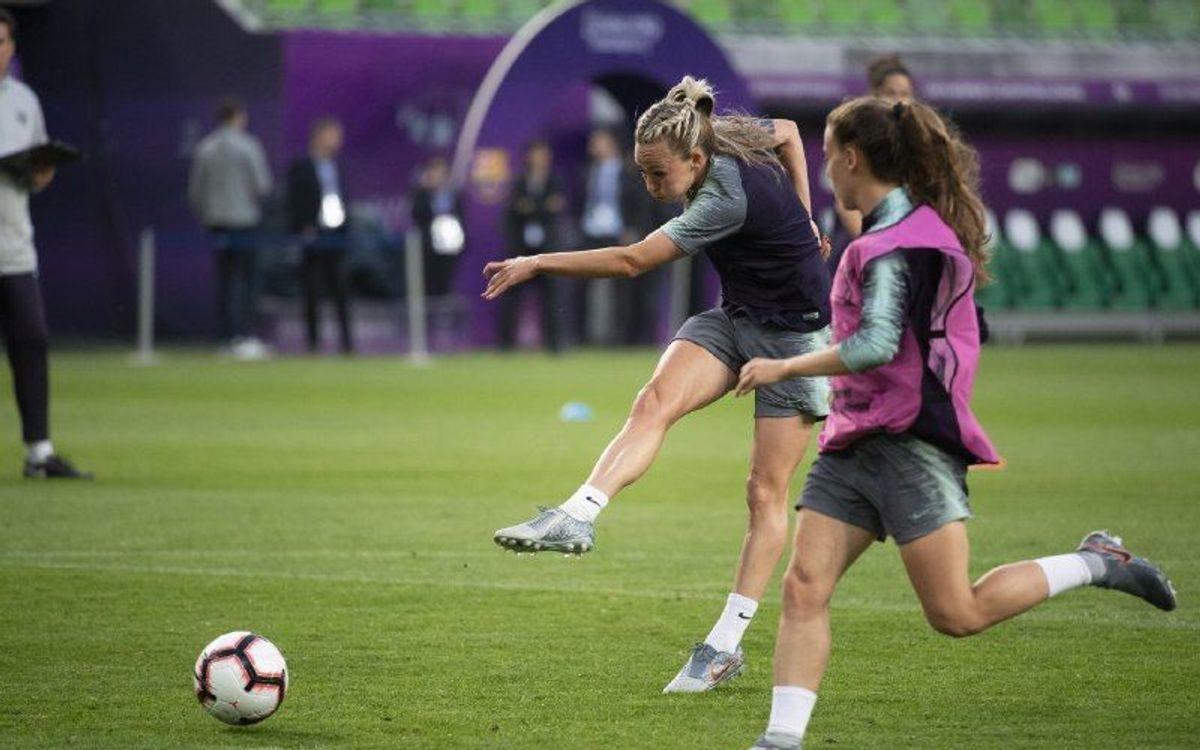El FC Barcelona Femenino prueba el Ferencváros Stadium