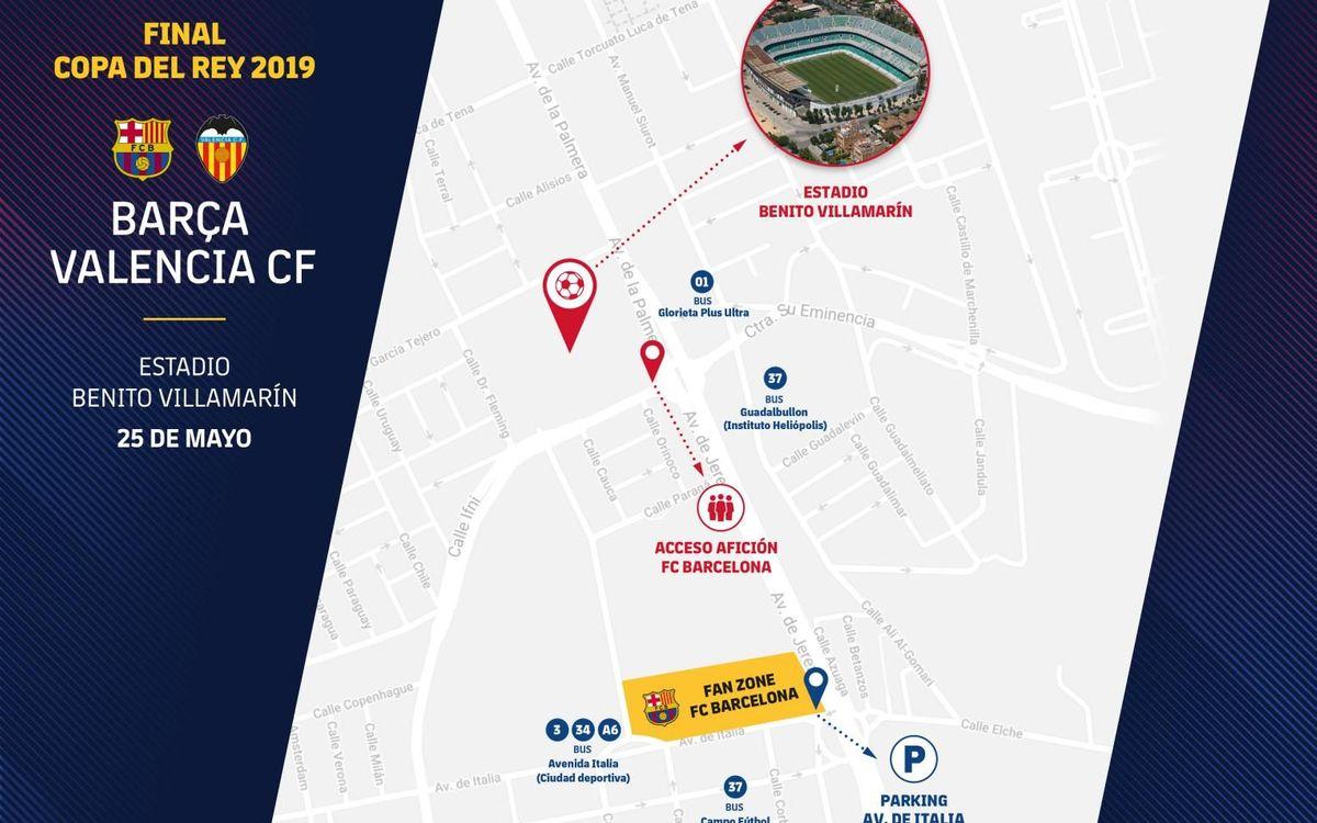 Mapa de acceso a la Fan Zone de la final de Copa