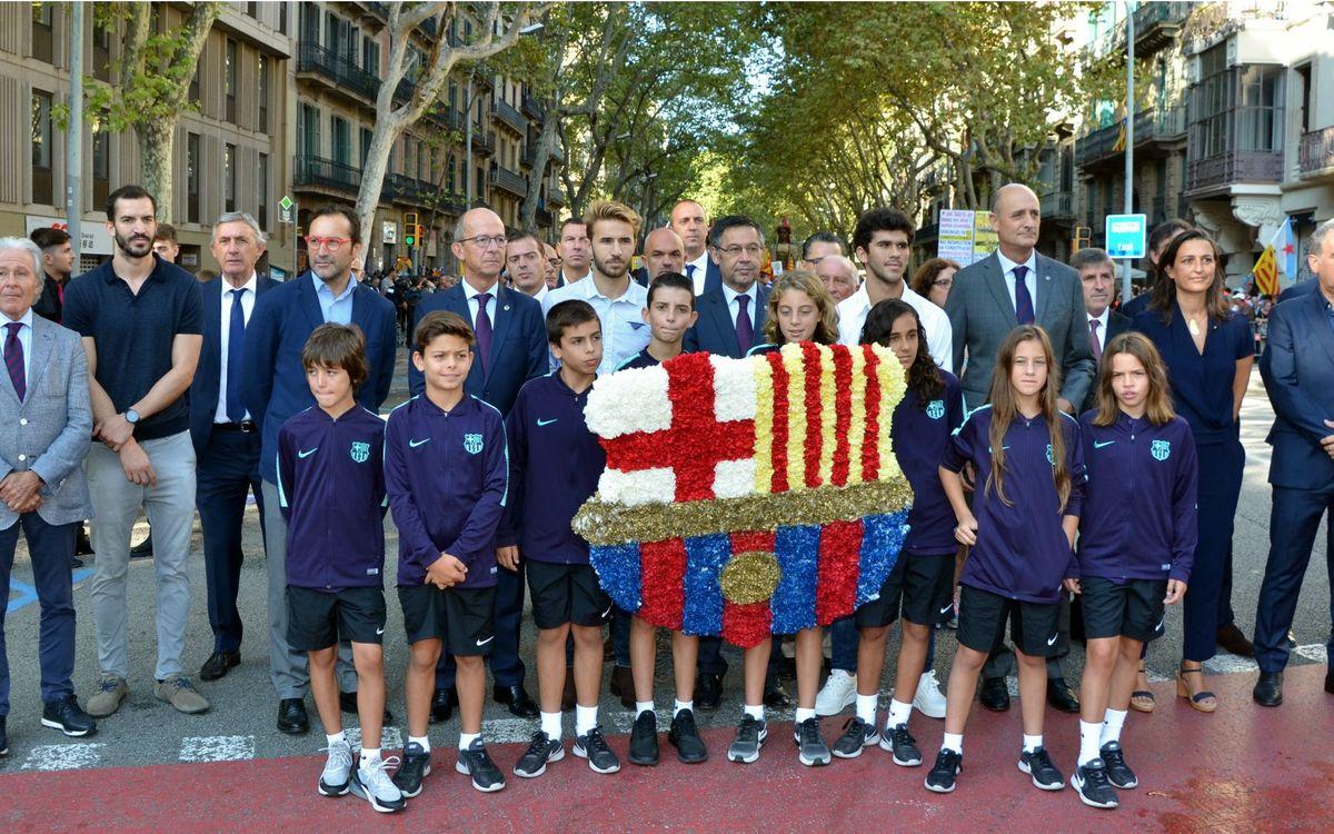 L'ABJ participa de l'ofrena floral de La Diada amb el FC Barcelona