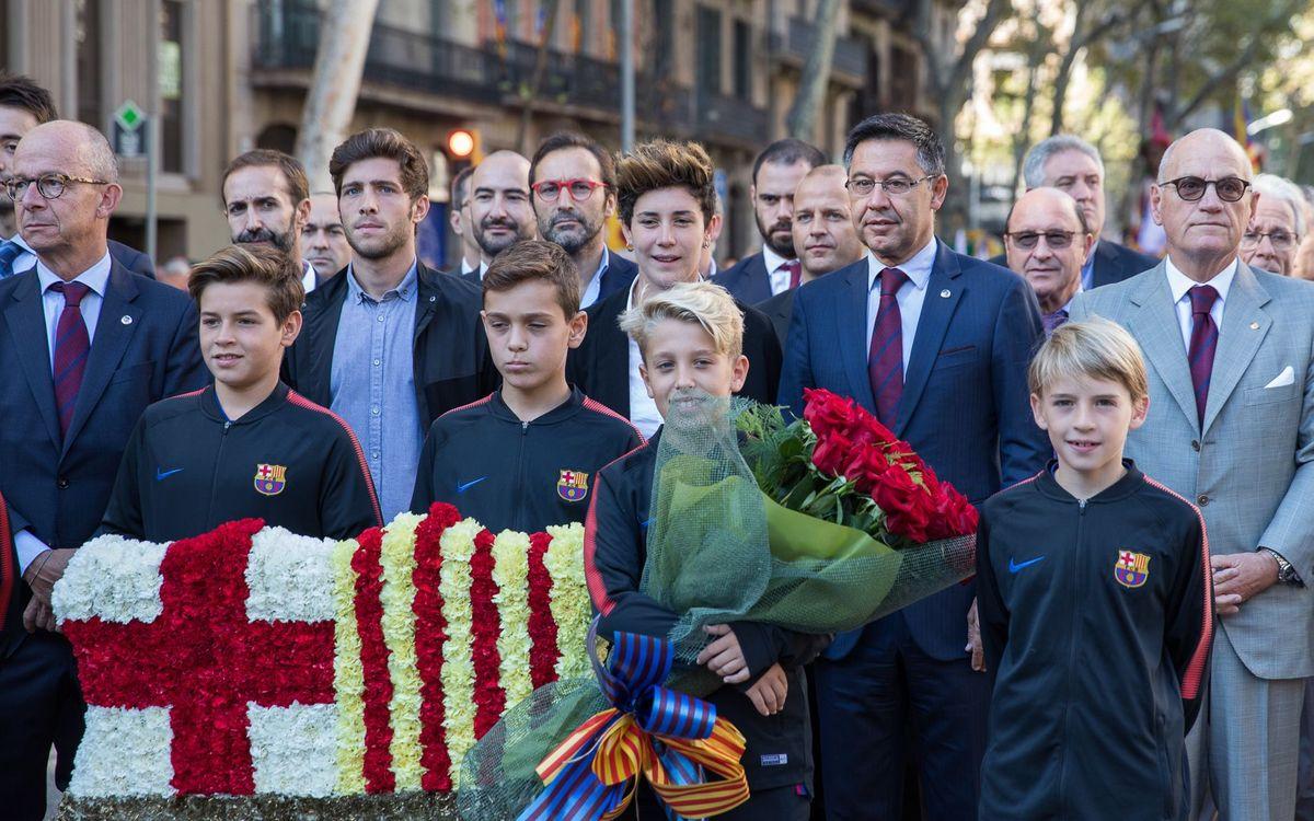 L'Agrupació participa a l'Ofrena de la Diada amb el FC Barcelona