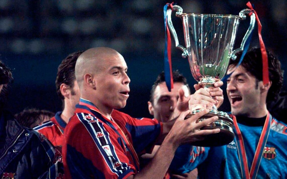 Ronaldo with the European Cup Winners Cup in 1997
