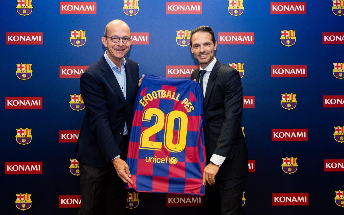 El FC Barcelona y KONAMI celebran la renovación de su acuerdo con un acto en la Ciutat Esportiva