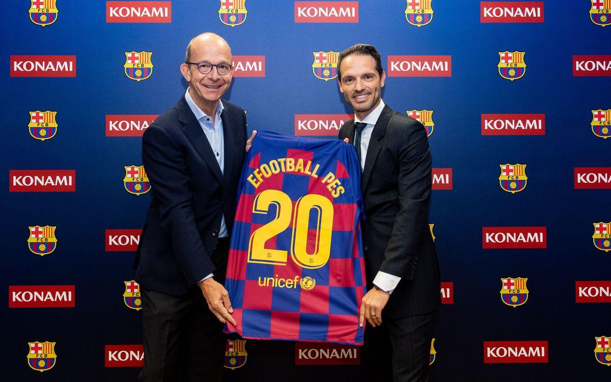 El FC Barcelona i KONAMI celebren la renovació del seu acord amb un acte a la Ciutat Esportiva