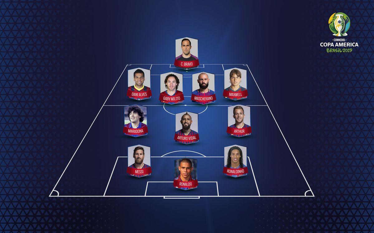 El XI ideal de jugadores sudamericanos culés por los fans