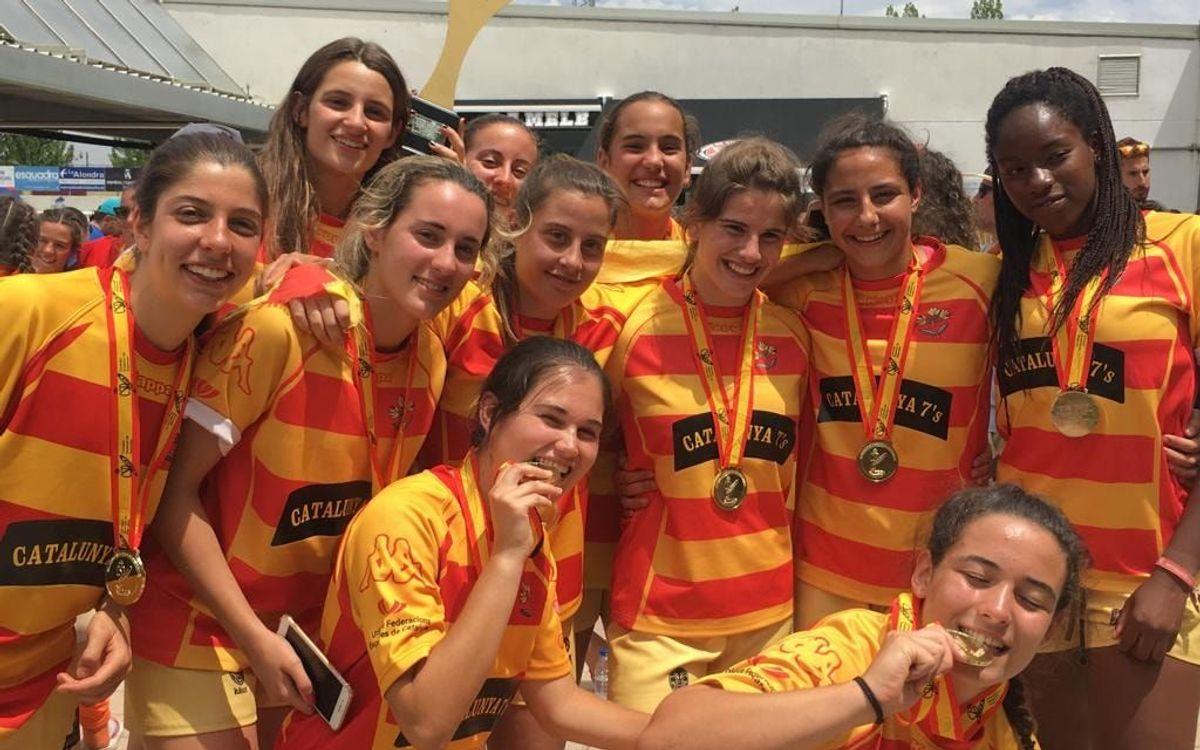 Ocho azulgranas se cuelgan una medalla en el campeonato de España de rugby a siete