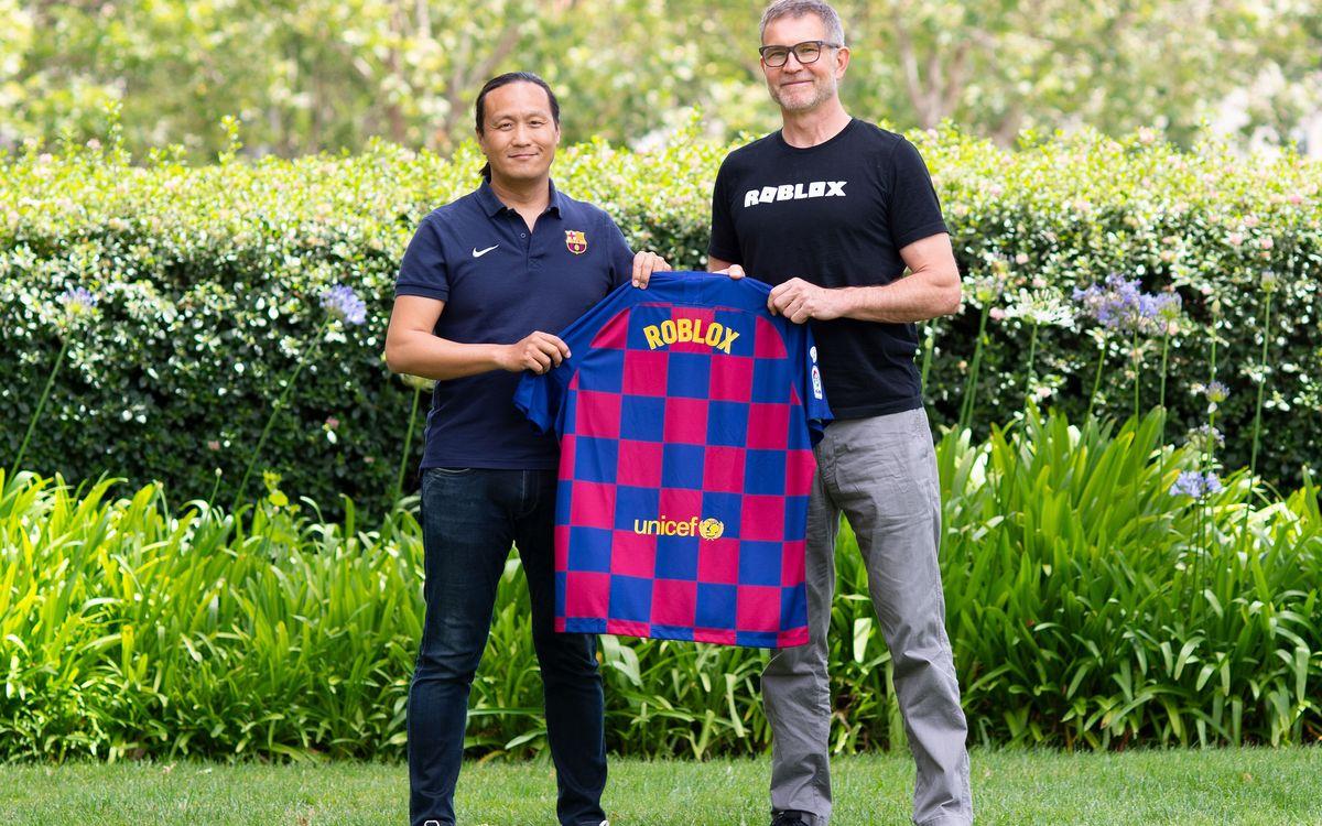 Dídac Lee, FC Barcelona board member, and David Baszucki, Roblox founder and CEO