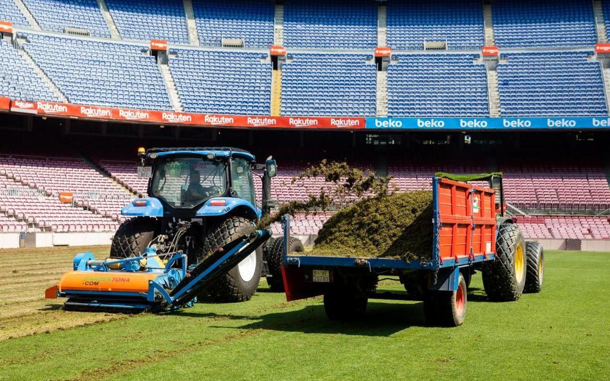 El Camp Nou estrenará nuevo césped en el Trofeo Joan Gamper