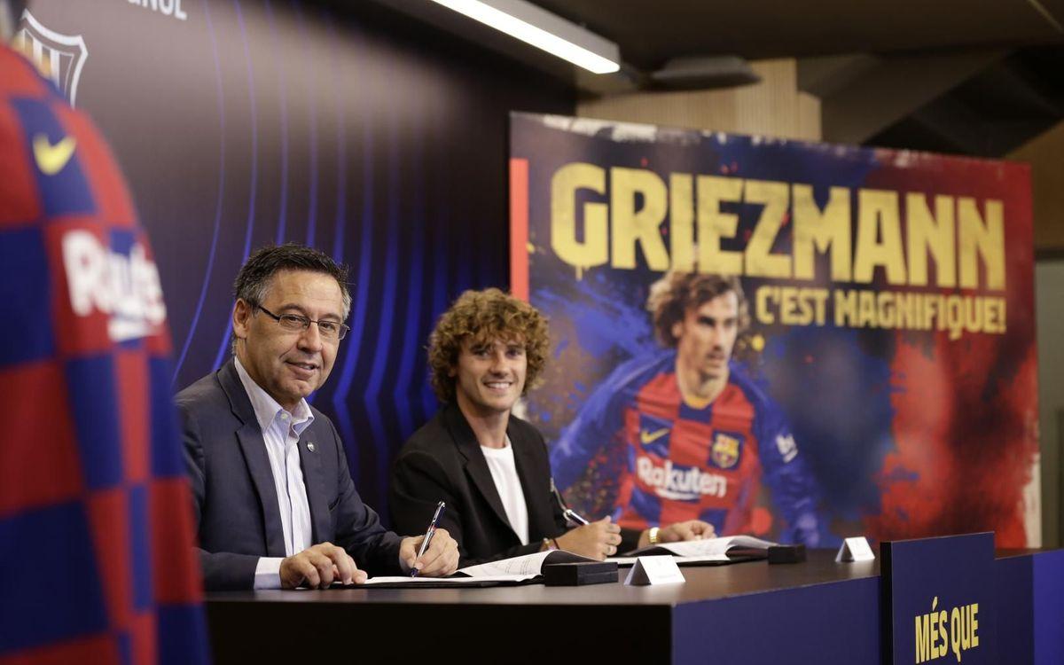Josep Maria Bartomeu y Griezmann firman el contrato del francés