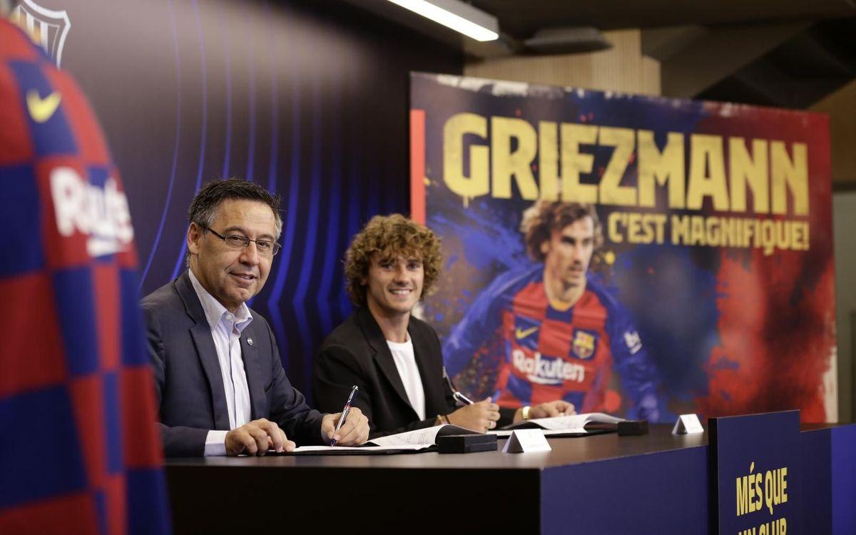 Josep Maria Bartomeu i Griezmann signen el contracte del francès