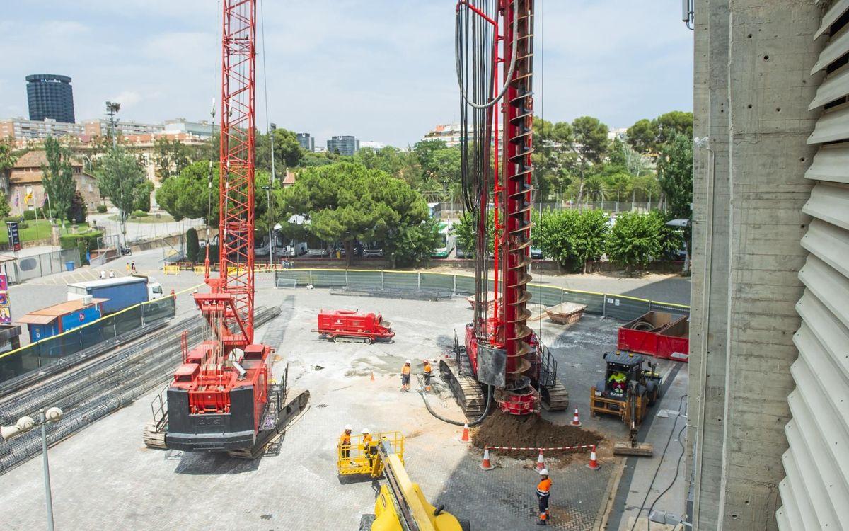 Este verano continúan las obras preliminares para el nuevo proyecto Espai Barça en el recinto del Camp Nou