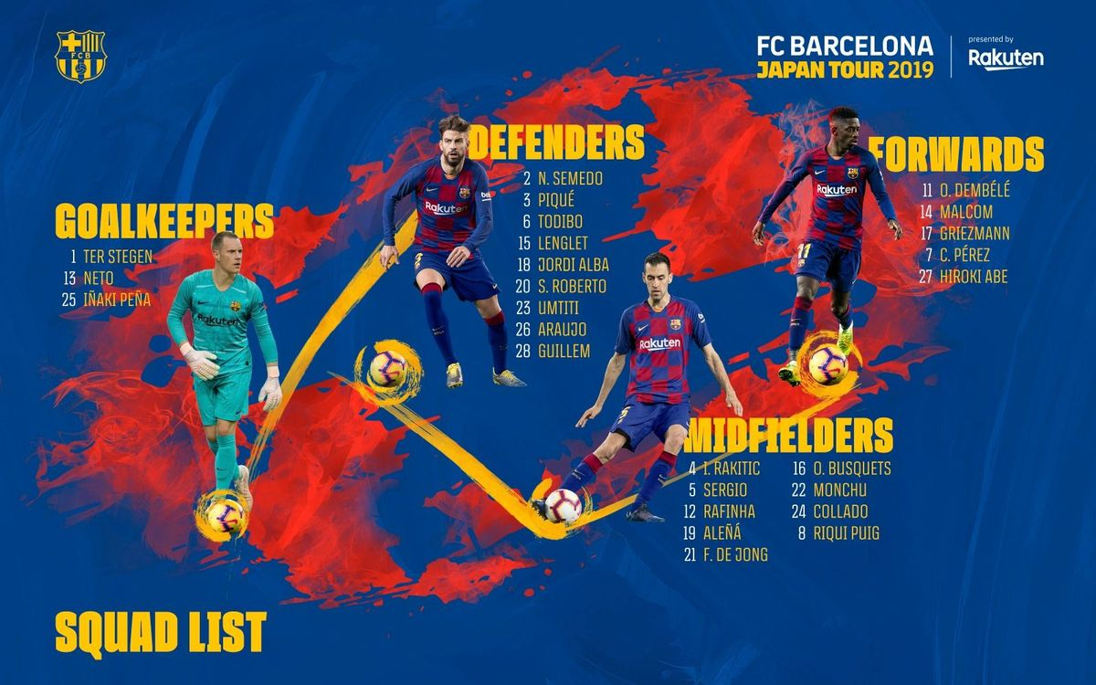 The 26 players called upon by FC Barcelona to travel to Japan