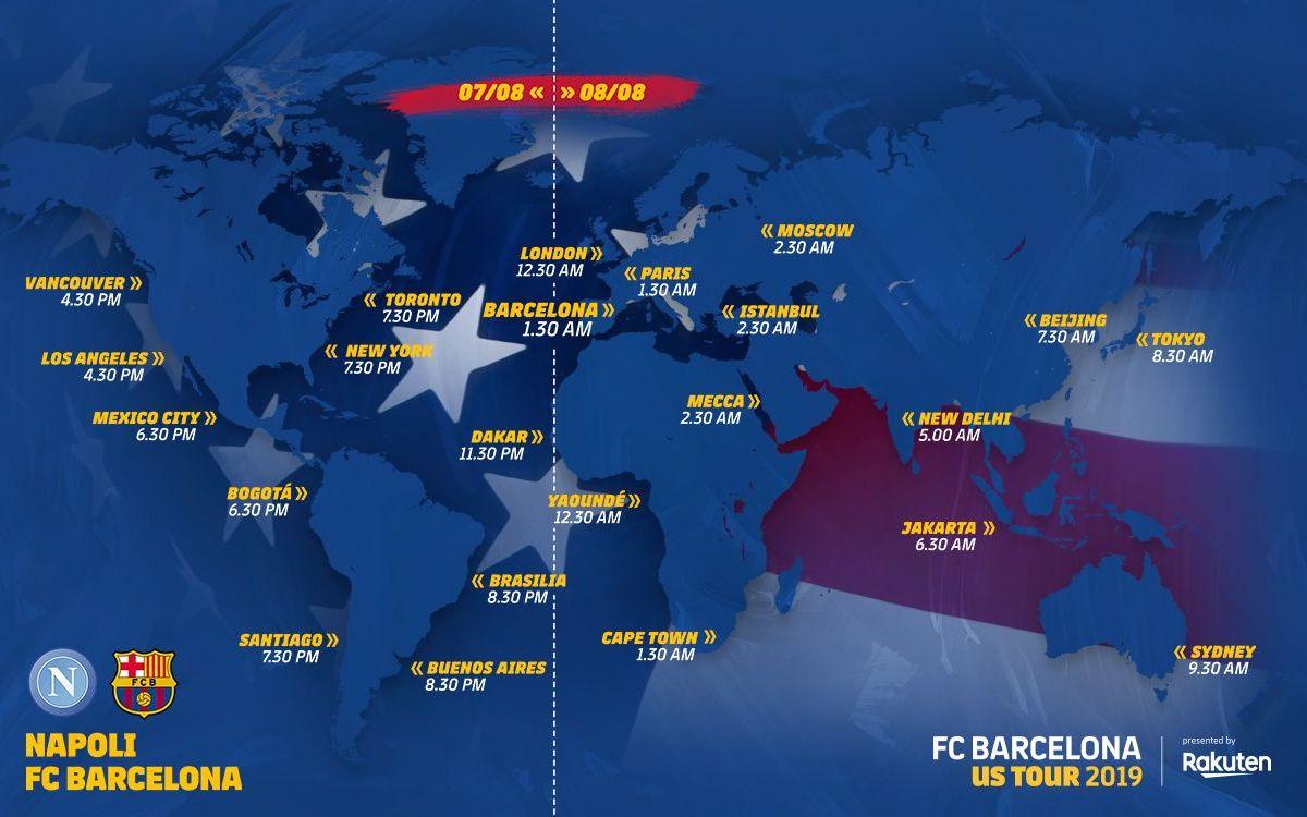 Worldwide kick-off times for Napoli - Barça