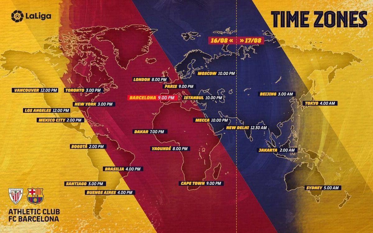 Les horaires de la rencontre Athletic Bilbao - Barça