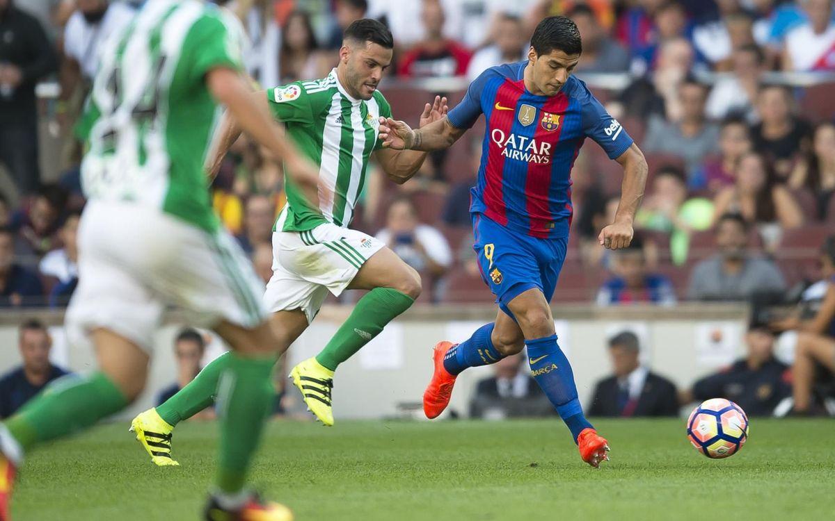 Suárez, autor de un hat-trick la última vez que el Barça marcó seis goles al Betis