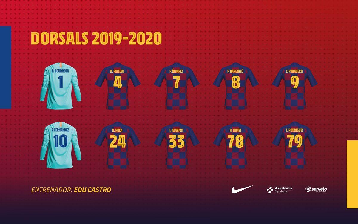 Els dorsals del Barça d'hoquei patins 2019/20
