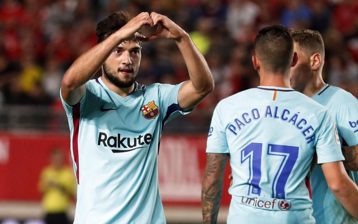 La celebració de José Arnaiz del seu primer gol amb el primer equip