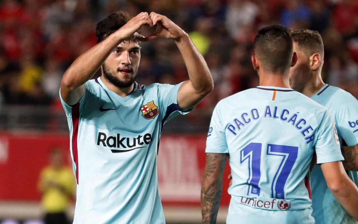 La celebración de José Arnaiz de su primer gol con el primer equipo