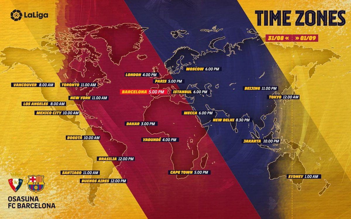 Osasuna - FC Barcelona: Horarios internacionales