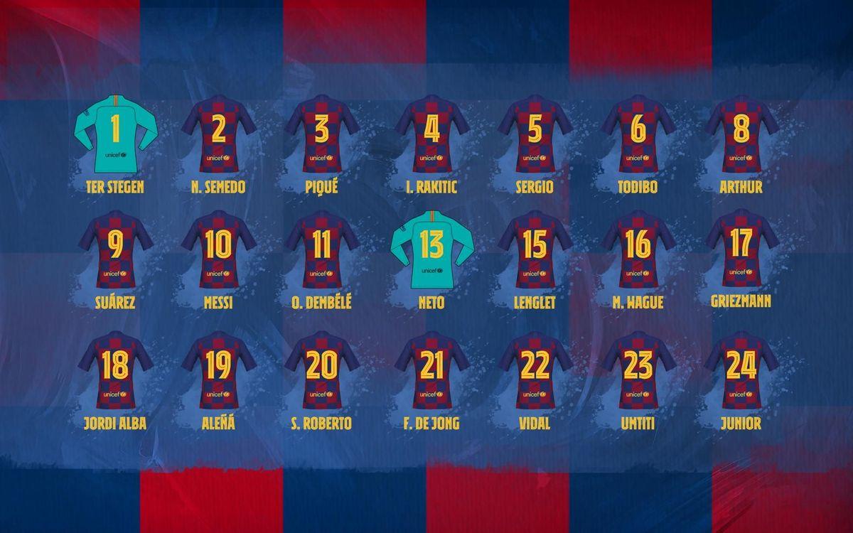 Confirmation des numéros officiels des joueurs du Barça