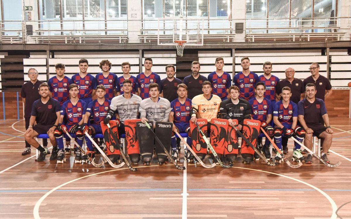 Foto de grup del Barça B i C 2019/20 d'hoquei patins