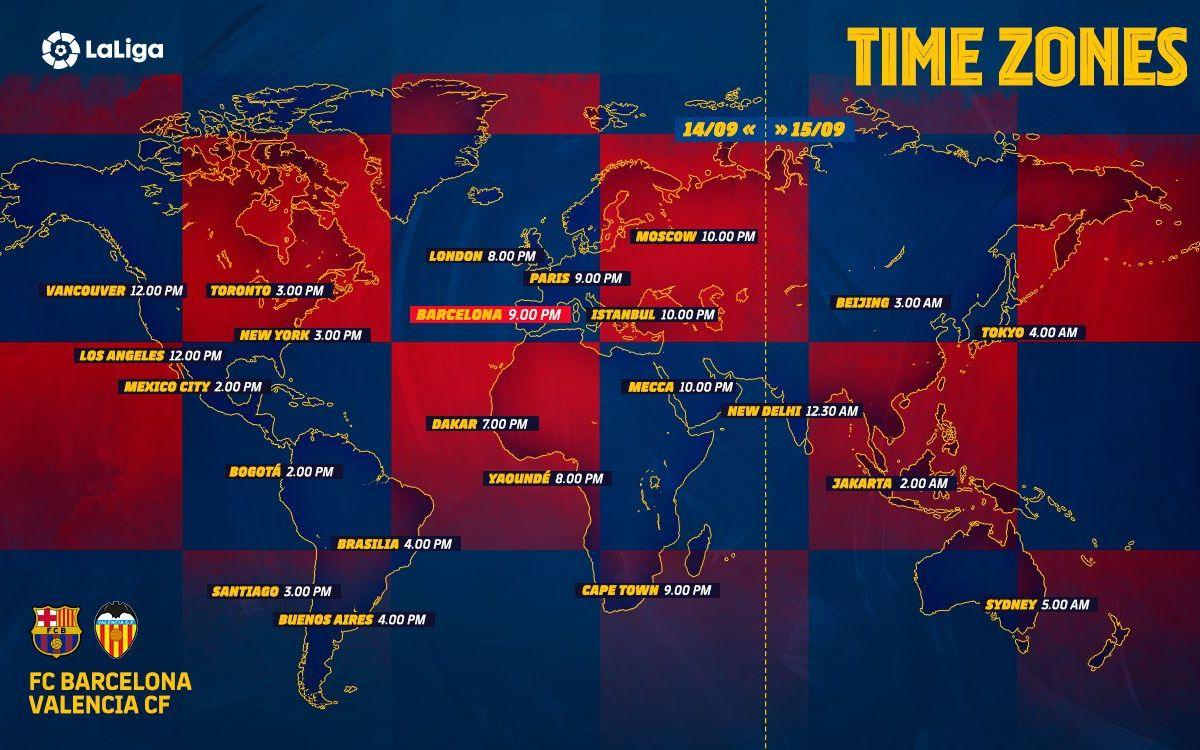 Els horaris internacionals del Barça-València