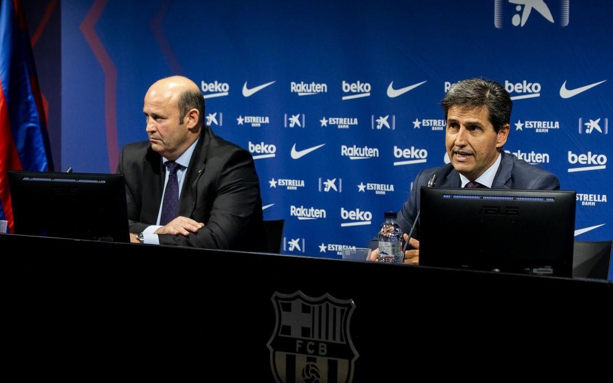 El CEO del Club, Òscar Grau, i el tresorer de la Junta Directiva, Enrique Tomas, en la presentació dels resultats econòmics