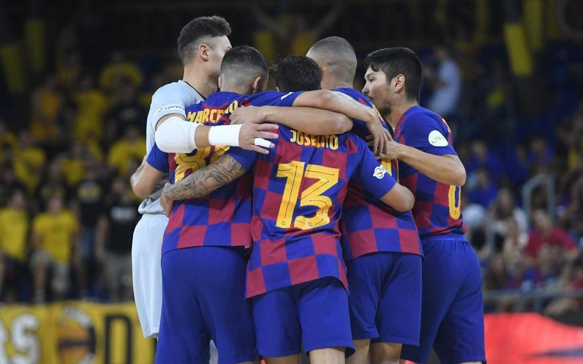 Barça - Fútbol Emotion Zaragoza: Reacción de líder en el estreno en el Palau Blaugrana (4-1)
