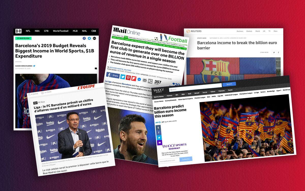El Barça i la seva projecció de superar la barrera dels 1.000 milions d'euros d'ingressos, protagonista a la premsa internacional