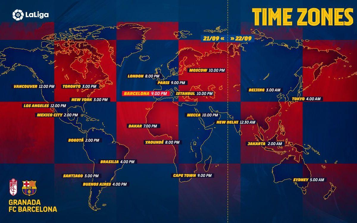 Les horaires de Grenade - Barça