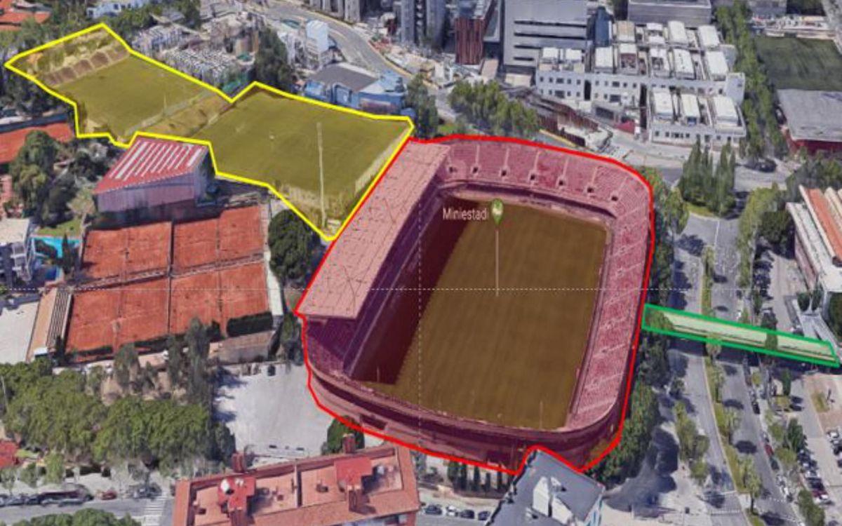 Els tres àmbits d'actuació del procés de desconstrucció, la Barça Escola, el Miniestadi i la passarel·la que el connecta al Palau.