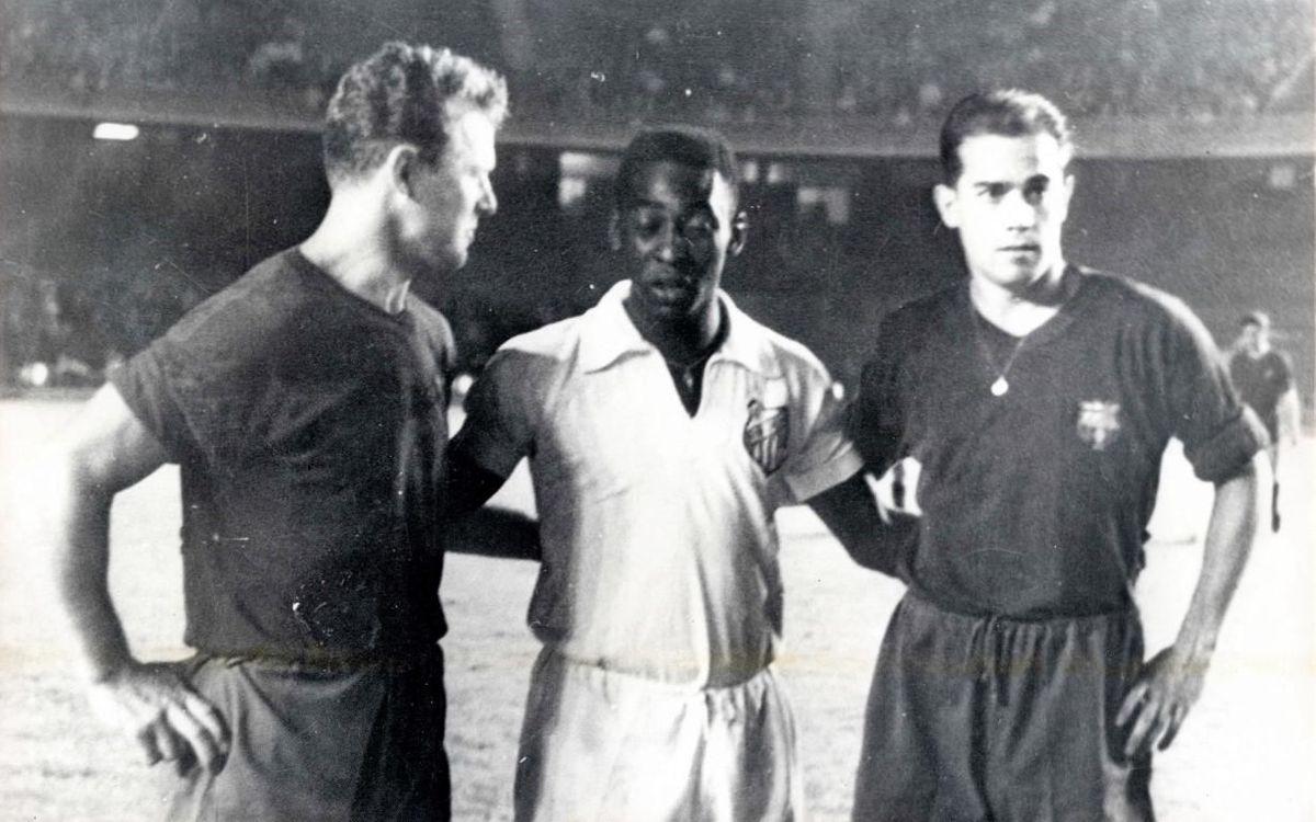 Tres llegendes: Kubala, Pelé i Luis Suárez al Camp Nou.