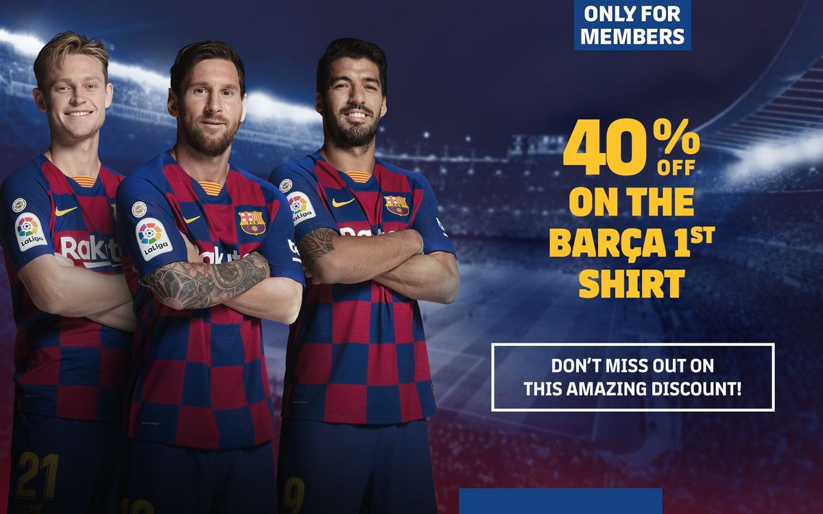 Exclusive 40% discount on the Barça home jersey