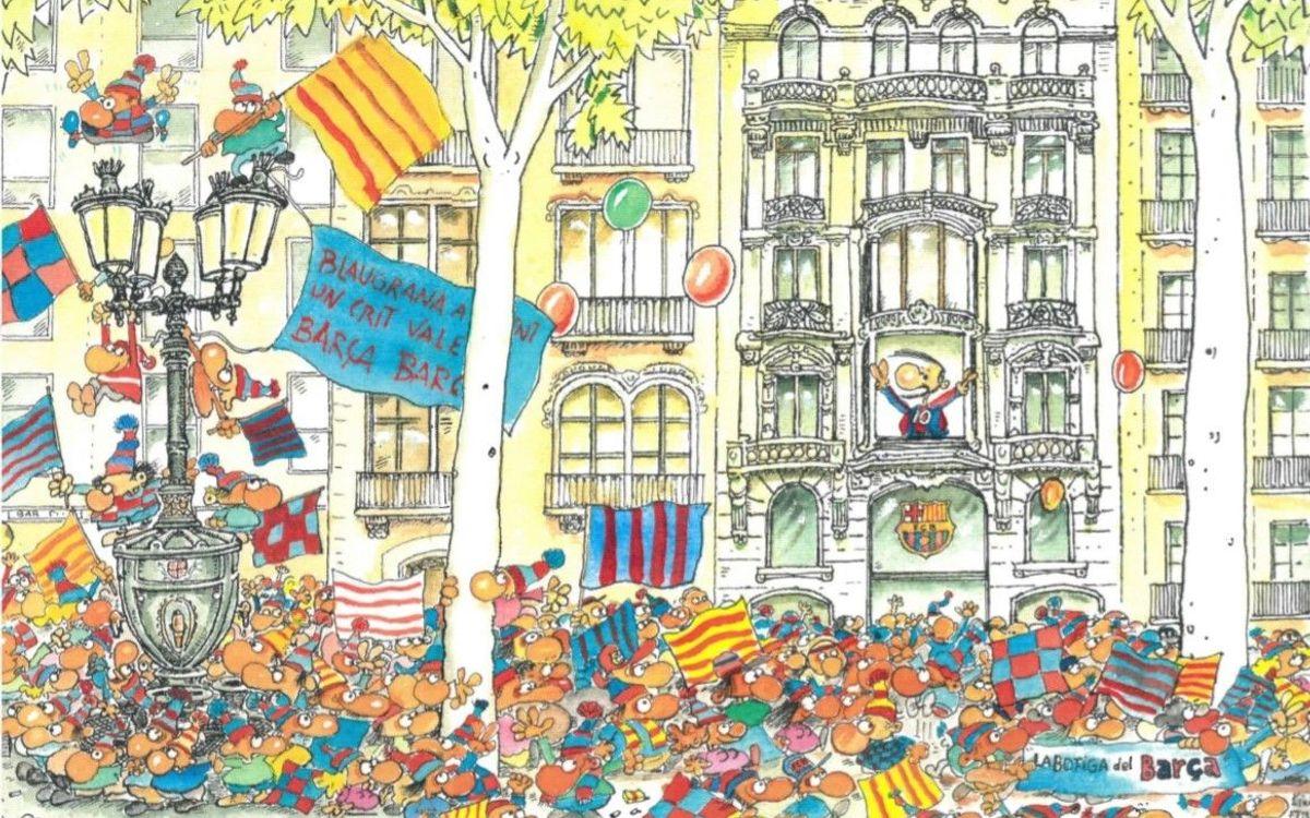 Un dibujo de Fer conmemora la apertura de la nueva tienda Barça Canaletas