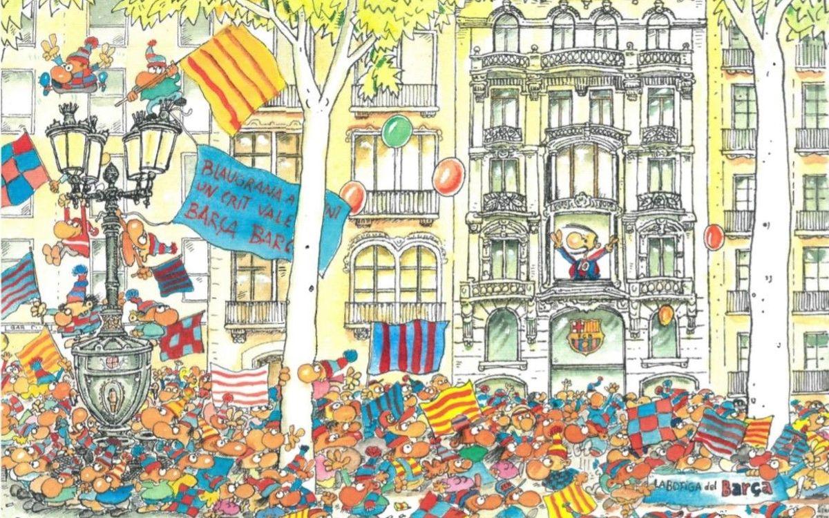 Un dibuix de Fer commemora l'obertura de la nova botiga Barça Canaletes