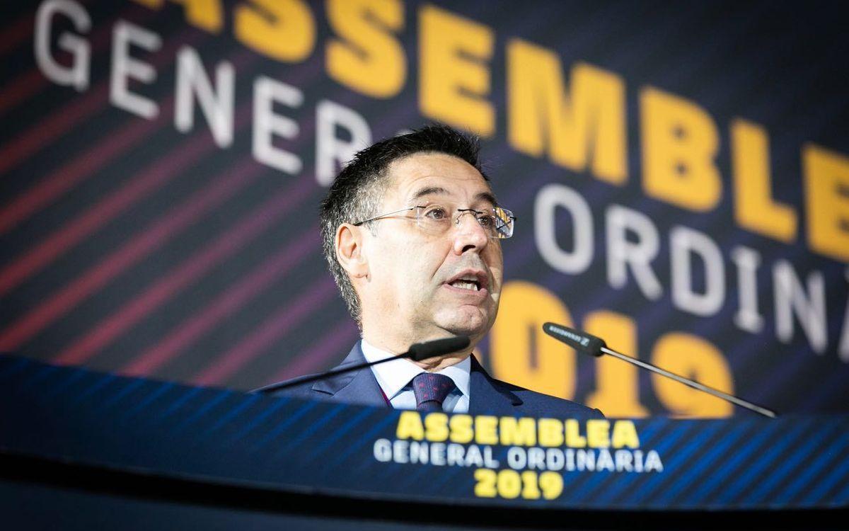 Josep Maria Bartomeu a l'Assemblea General de Socis Compromissaris