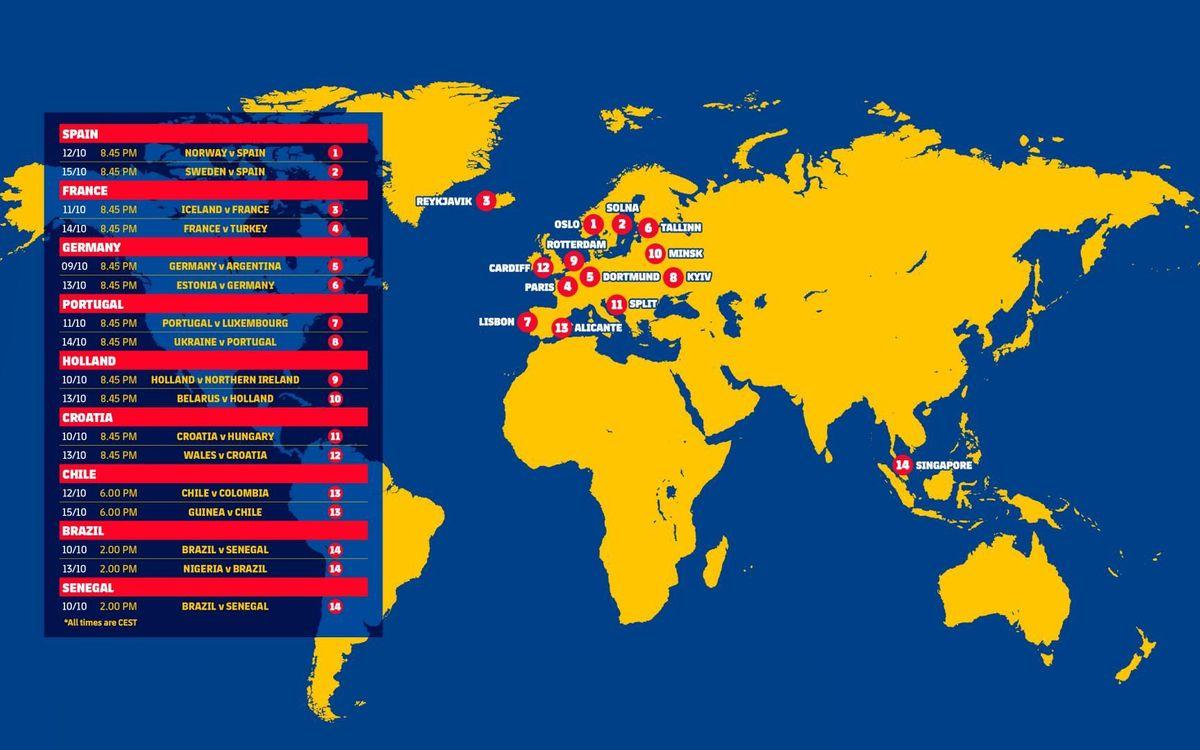 El calendari de partits dels internacionals blaugrana