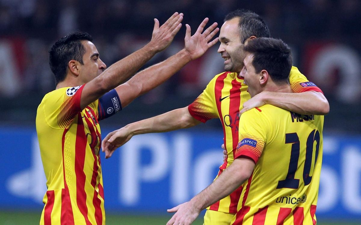Leo Messi celebrating a goal with Xavi and Iniesta - MIGUEL RUIZ-FCB
