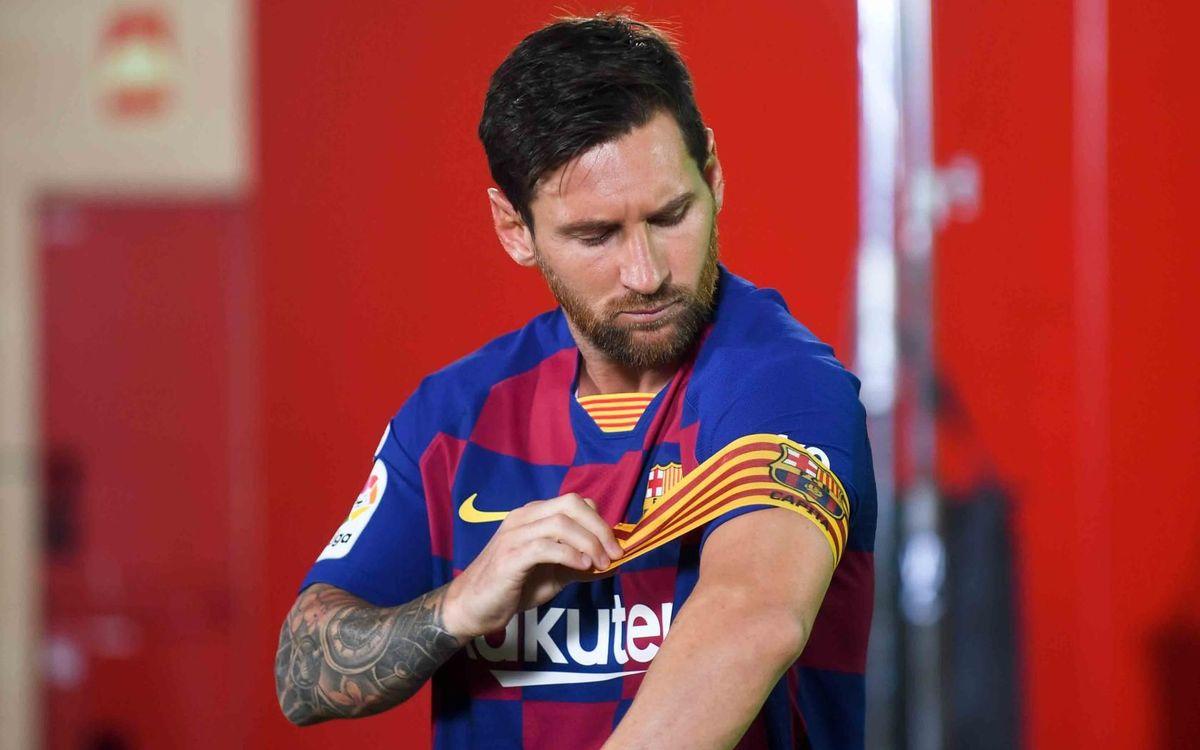 Leo Messi, con el brazalete de capitán - PACO LARGO-FCB