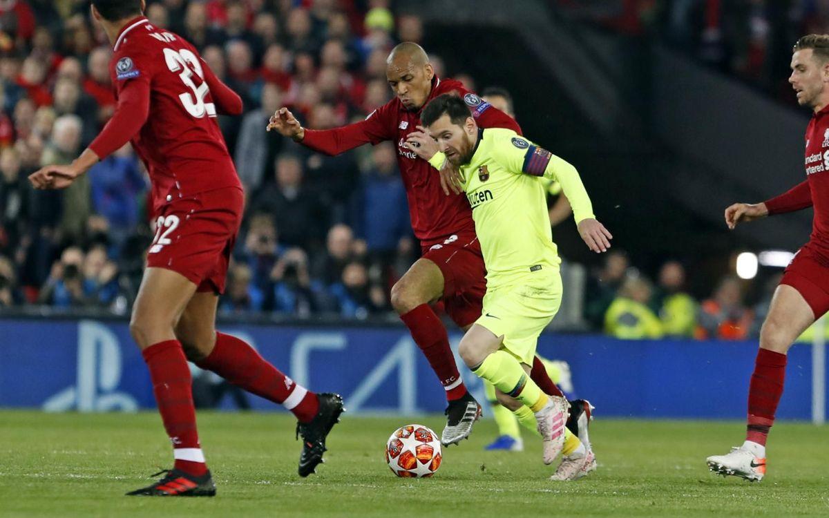 Leo Messi en el partido de contra el Liverpool en Anfield - MIGUEL RUIZ-FCB