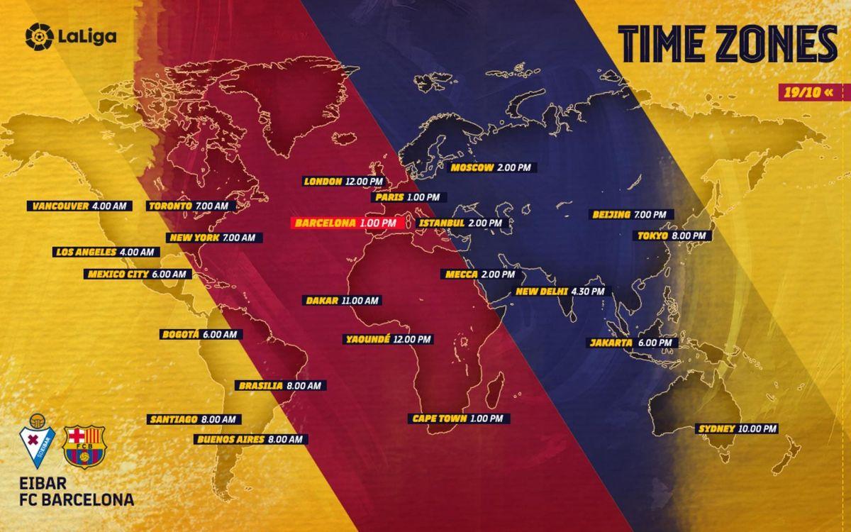 Eibar vs Barça - Horarios internacionales