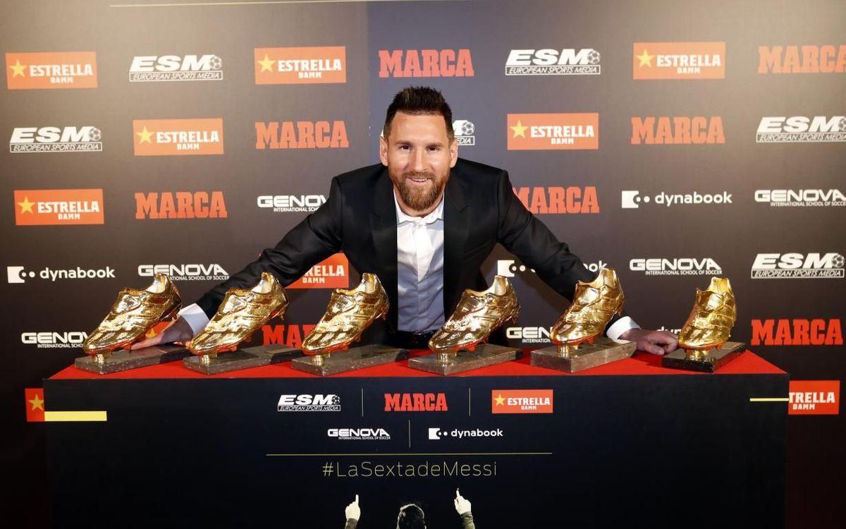 Messi, juntament amb les sis Botes d'Or del seu palmarès