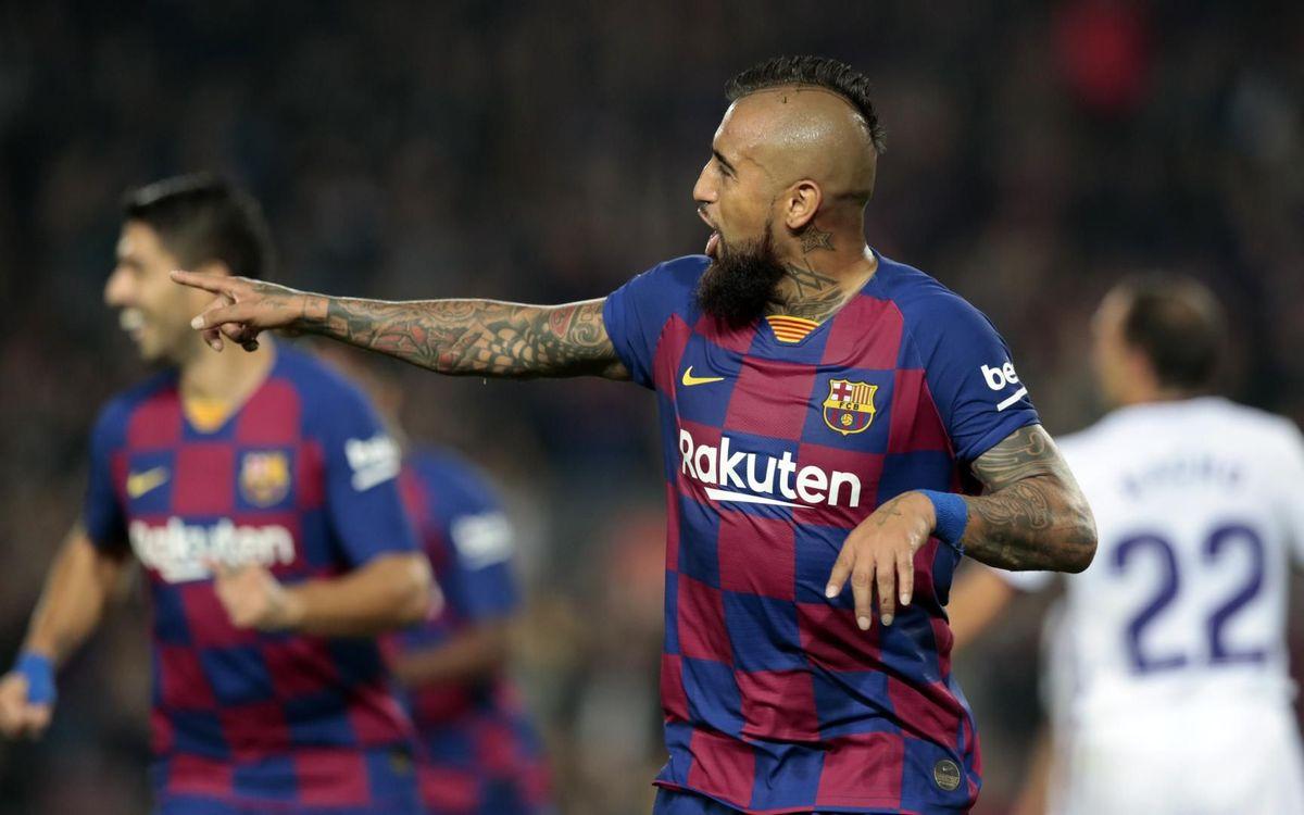Arturo Vidal celebra su gol contra el Valladolid