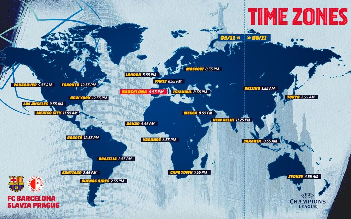 Horaires internationaux - Barça - Slavia Prague