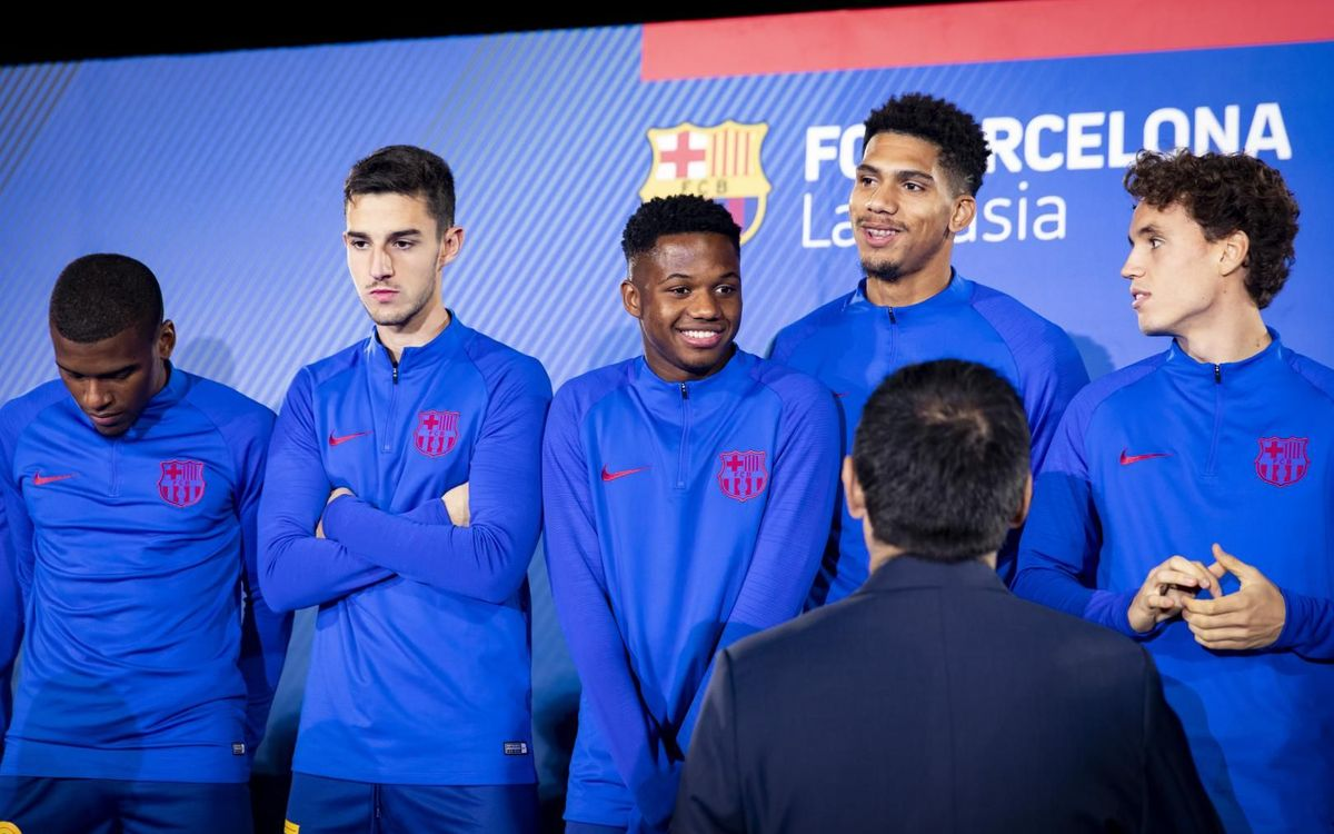 Ansu Fati and Carles Pérez attend youth football presentation